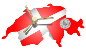 vector conceptual illustration of switzerland as safe