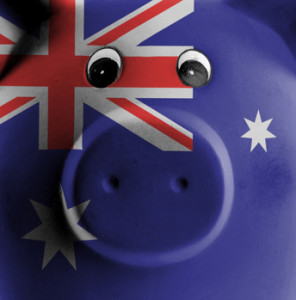 Ceramic piggy bank with painting of national flag, Australia